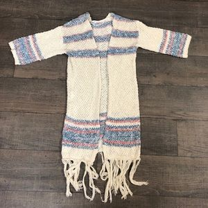 Beige and Blue Knit Cardigan